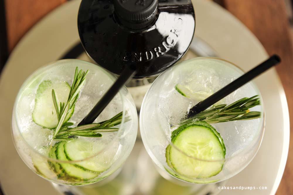 Gin tonic closeup with Hendricks gin