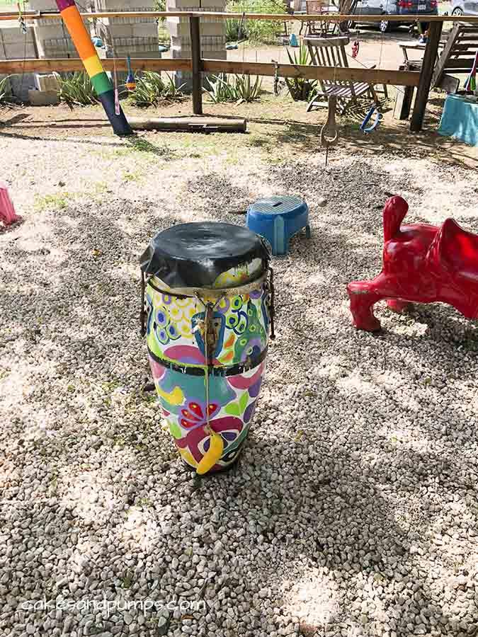 Drum in the garden of Serena's art factory Curacaoo, cakesandpumps.com